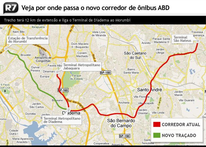 Veja por onde passa o novo corredor de ônibus ABD