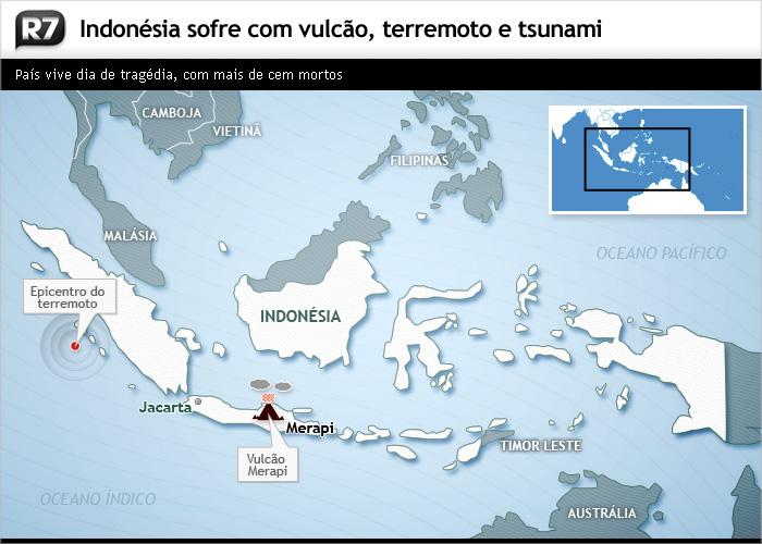 Indonésia sofre com vulcão, terremoto e tsunami